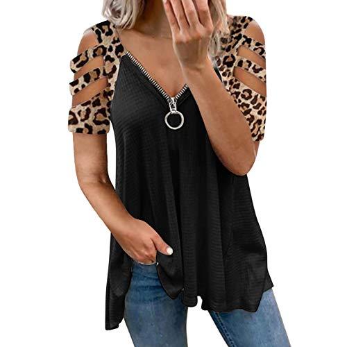 Guanghuansishe Damen Blusen Elegante Reißverschluss Bluse Tunika Oberteile T-Shirt V-Ausschnitt Tops Damen T-Shirt Sommer Tunika Lose Oberteil V-Ausschnitt Tops Tops (XL, Leopard-1)