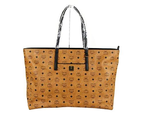 MCM Women's Cognac Brown Visetos Coated Canvas Large Tote Bag MWP9AVI16CO001