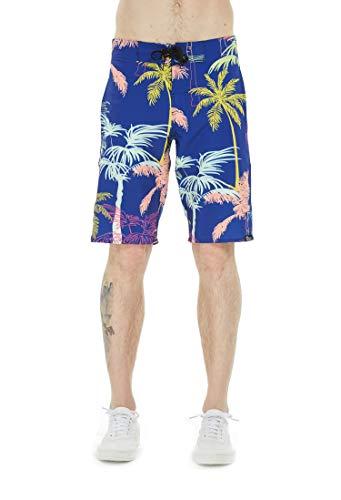 Men's Spandex Hawaiian Beach Board Shorts with Zipped Pocket in Crayon Palms in Navy 28