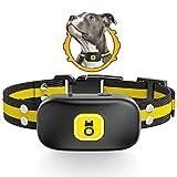 Collar Antiladridos Impermeable y Recargable, JJW Collar de Control Automático Ladrido con Vibración y Sonido, Seguro y Humano Collar Adiestramiento Adecuado Perro Pequeño, Mediano y Grande(Amarillo)