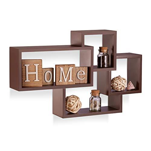 Relaxdays Wandregal Cube, 4 Fächer, Freischwebend, Modernes Design, Dekorativ, Belastbar, MDF, HBT: 42x69x12cm, Braun