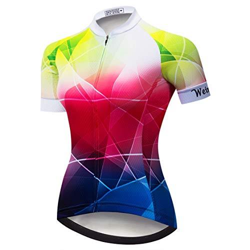 Weimostar - Maillot de ciclismo de montaña para mujer, camiseta de manga corta, ropa de ciclismo de montaña, verano, Mujer, color rojo morado 808, tamaño M = Brust 82-86 cm