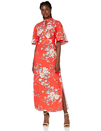 Marca Amazon - TRUTH & FABLE Vestido Mujer Estampado, Multicolor (Red), 36, Label: XS