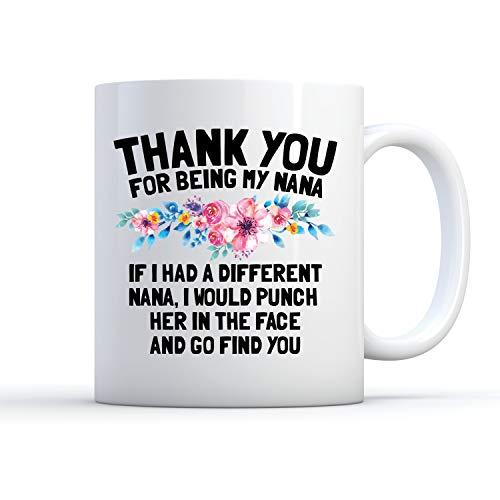 Taza de café con diseño de Nana, Thank You Nana, Punch Her in Face, Funny Nana, Funny Nana, Taza de café divertida, regalo de Nana, taza de Nana, taza de amor Nana, 445 ml