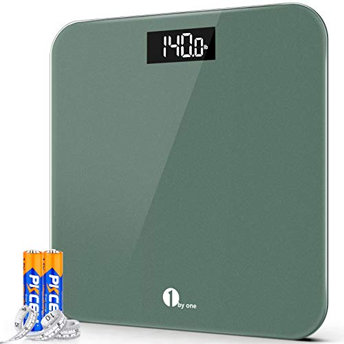 1byone Digital Body Weight Scale Bathroom Scales with Accurate  LED Display 400 lbs Capacity Tape Measure and Batteries Included Green