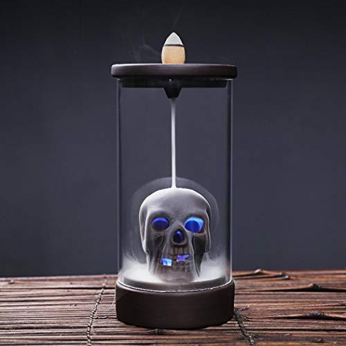 Räuchergefäß, Rückfluss-Räucherkegel, Keramik-Räucherkegel, Räucherstäbchenhalter, Totenkopf-Design, mit LED-Rückfluss-Räuchergefäß, Heimdekoration, Handwerk, Geschenk, mit 10 kostenlosen Kegeln