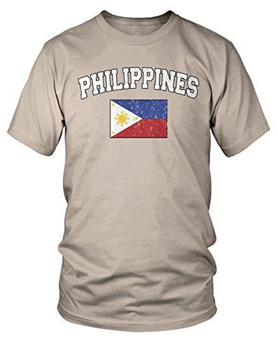 Amdesco Men's Philippines Flag, Filipinas Philippine Flag T-Shirt, Putty Large