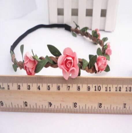 mezly Rose Flower Head Chain Jewelry Hollow Elastic Hair Wear Wreaths Wedding Fashion Wreaths Garlands- Flower Crown- Wall Decor-E