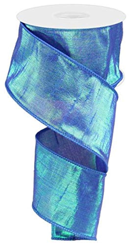 Iridescent Dupioni Wired Edge Ribbon, 10 Yards (Royal Blue, 2.5