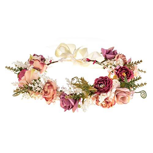 Rolkstone Wedding Flower Crown Girls Floral Headband Hair Wreath Garland Boho Halo Floral Headpiece Women Festival Party