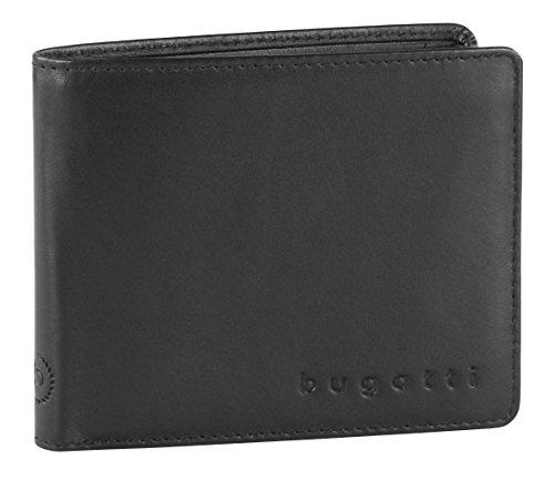 Bugatti Primo Geldbeutel Männer RFID Leder - Geldbörse Herren Schwarz - Portmonaise Portemonnaie Portmonee Brieftasche Wallet Ledergeldbeutel