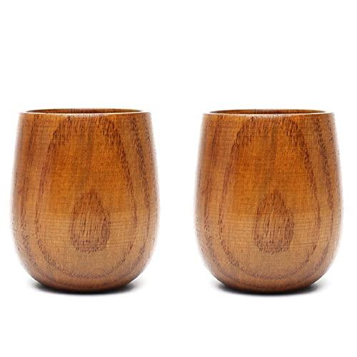 Taza de copas de madera natural, leche, vino, cerveza, azufaifo, taza de madera, tazas para beber hechas a mano, taza de viaje, café, té, decoración del hogar (Copa de barriga grande 2 piezas)