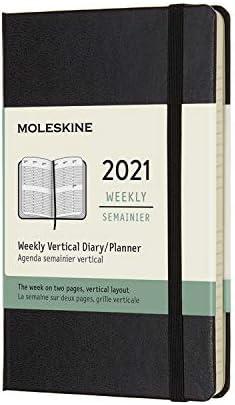 """Moleskine 12 Month 2021 Weekly Planner, Hard Cover, Large (5"""" x 8.25"""") Black"" (DHB12WV3Y20)"