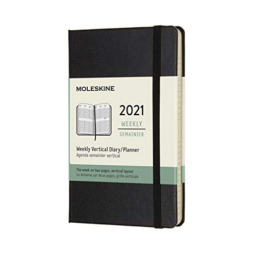 Moleskine - Agenda Settimanale 2021, Agenda Settimanale 12 Mesi con Layout Verticale, Weekly Vertical Planner, Copertina Rigida, Formato POCKET 9 x 14 cm, Colore Nero, 144 Pagine