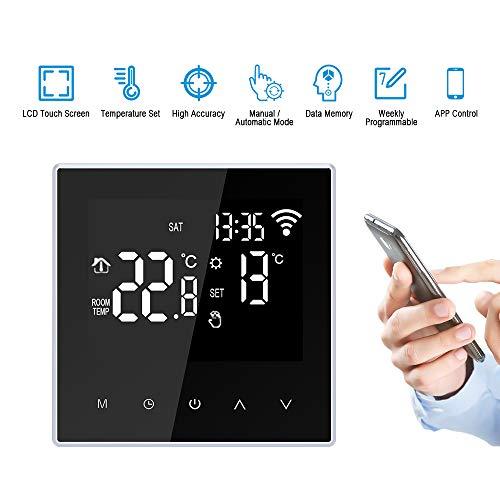 FESTNIGHT Termostato Intelligente WiFi Regolatore Digitale Riscaldamento di Pavimento Controllo App Settimanale Programmabile Ampio Schermo LCD per Ufficio Scuola Domestica Hotel,16A, Nero