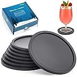 Aimego Silikon Untersetzer für Gläser Getränkeuntersetzer für Tisch und Bar Glasuntersetzer in schwarz für Getränk (8pcs-S)