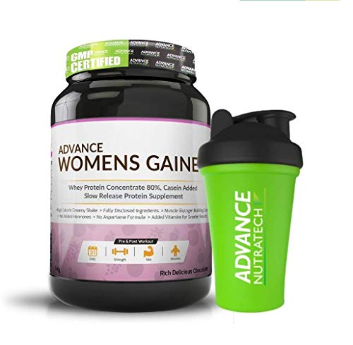 Advance Nutratech Weight Gainer for Women's- 1 Kg (Rich Delicious Chocolate) | Free Shaker Protein Powder with Soya | Casein And Whey for Gym Workout