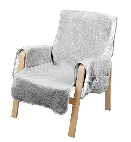 Haus und Deko Sesselschoner gesteppt Sessel Überwurf mit Taschen Lammflor Sesselauflage #1292 (Silber)