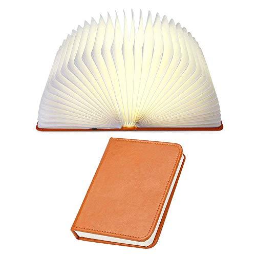 LED Plegable Lámpara del Libro, LED Libro Lámpara Ambiental Lámpara LED Recargable Noche Creativa Luz de Noche y Lámpara de Libro de Mesa para Dormitorio, Lámpara LED con 5 Colores (Marrón)