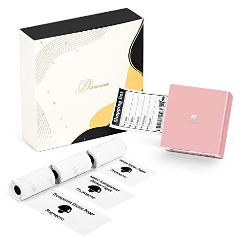 Phomemo M02 Mini Drucker Fotodrucker für Smartphones Bluetooth-Drucker Aufkleber Drucker, Lieferung mit 3 Rollen Klebepapier, kompatibel mit iPhone und Android - Rosa