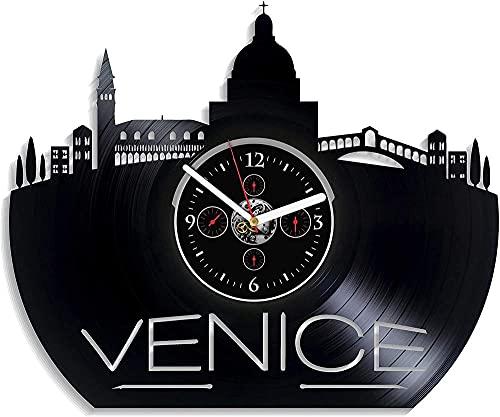 ZZLLL Relojes de Pared Modernos en la Ciudad de Venecia Relojes de Pared con Discos de Vinilo cumpleaños Retro año Nuevo Regalo de cumpleaños de Navidad Personalidad Creativa Mural