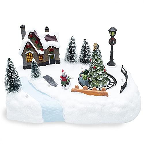 Mediawave Store - Móvil navideño con tren, pueblo de Navidad, luces sonoras y movimiento, escenario navideño, pueblo de Navidad nevado, adorno navideño, tren de Navidad, decoraciones.
