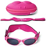 Tuga Baby/Toddler UV 400 Sunglasses w/ 2 Straps & Case, Pink