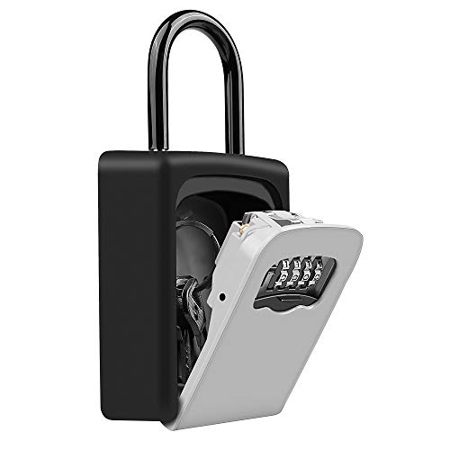 Key Storage Lock Box, Key Lock Box with Code - 4 Digit Combination Resettable Key Lock Box for Door Knob and Outside Wall Mount