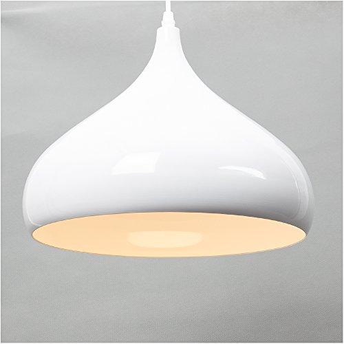 Industrielle Moderne LED Pendelleuchte Hängeleuchte E27 Fassung für Bürodeckenleuchten Φ30cm für Esszimmer, Wohnzimmer, Arbeitszimmer (Weiß)