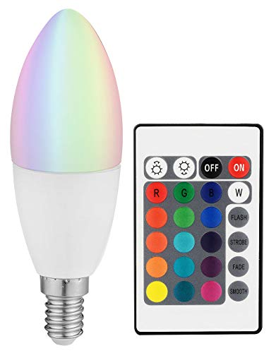 Luminea E14 LED RGB: COB-LED-Kerze mit RGB-Farben und Fernbedienung, 3 Watt (RGB Leuchtmittel)