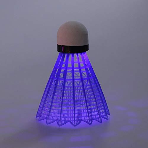 kaakaeu 3 x LED-Badminton-Bälle aus Nylon, für Anfänger-Training, Nacht, Badminton-Sport, blau