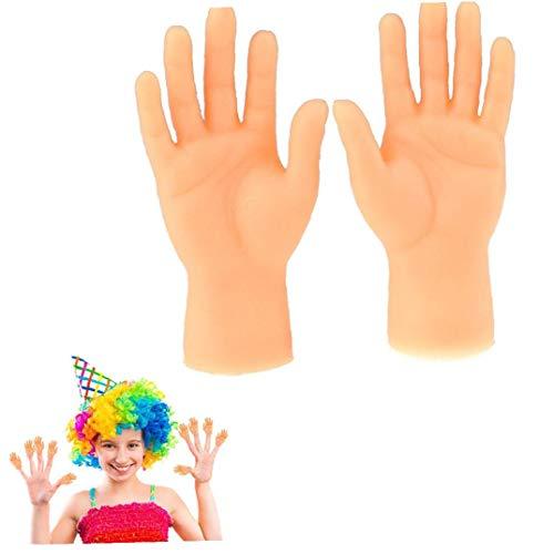 Deanyi 1Pair Tiny Hand Fingerpuppen Kleiner Finger Stützen für Hände Halloween Hand Prop Zubehör Mini Prank Hand Gag-Geschenke für Erwachsene (Linke und rechte Hand)