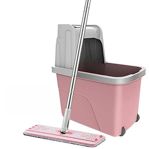 YI KUI Schrubber und Eimer Set/Free Handwäsche/Drehen/Edelstahl/Sticked Buckle Typ/Handdruck-Trocknung/Pritschen-Mop Wet Mops-2#, Rosa