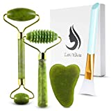 Jade Roller Gua Sha Set for Face, Jade Facial Roller | Silicone Makeup Brush Eye Roller + Lymphatic Drainage Massager | For Face Made From Real Jade | Ice Massager, Eye Puffiness Relief