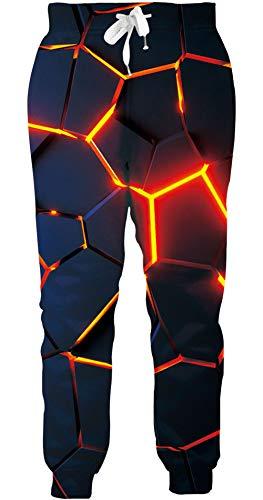 Loveternal Hipster Hose Herren Geometrisch Jogginghose 3D Druck Geometric Sweatpants Sport Hosen Casual Baggy Jogginghose L