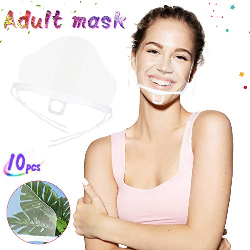 10PCS Plastic Clear Face Shield,Reusable and Washable Anti-Fog Transparent FaceMask for Beauty Salon Restaurant Hotel 6