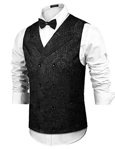 COOFANDY Herren Victorian Vest Steampunk zweireihiger Anzug Vest Slim fit Brocade Paisley Blumen Weste mittel schwarz