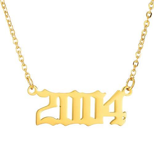 UEUC Geburtsjahr Nummer Halskette, Nummer 1980 bis 2005 Anhänger Schlüsselbein Kette Halskette, Geburtstagsgeschenk für Frauen, Gold/Silber