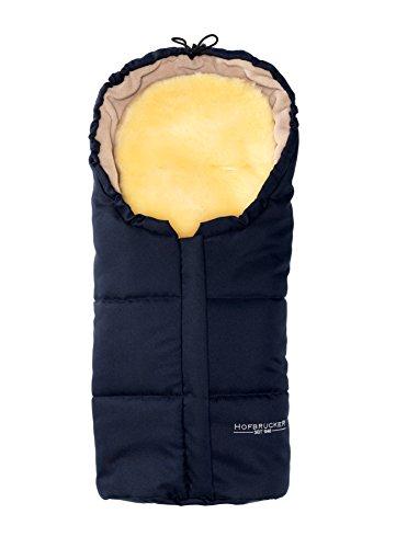 Hofbrucker Lammfell-Fußsäckchen Leni für Babyschale & Kinderwagenschale | Lammfell herausnehmbar | Winterfusssack wasserabweisend & Mumienform | Lammfellfußsack Made in Germany, Design:navy blue
