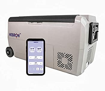 Hebron 33 Quart Dual Zone Portable Refrigerator/Freezer for Camping Fishing and Travel - 12/24 Volt DC Mini Chest Cooler for Vans Campers RVs and Boats