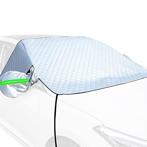 Cubierta para parabrisas de coche, protección contra la nieve, el hielo, el sol, las heladas, el sol, el verano, el invierno, con 4 capas de material, para coches, camiones y furgonetas