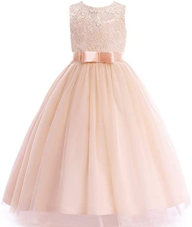 Glamulice Girls Lace Bridesmaid Dress Long A Line Wedding Pageant Dresses Tulle Party Gown Flower product image
