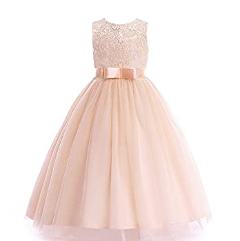 Glamulice Girls Lace Bridesmaid Dress Long A Line Wedding Pageant Dresses Tulle Party Gown Flower Teen Girls Holiday FormalProm Princess Birthday Kids Maxi Ballgown  15-16Y O-Champagne