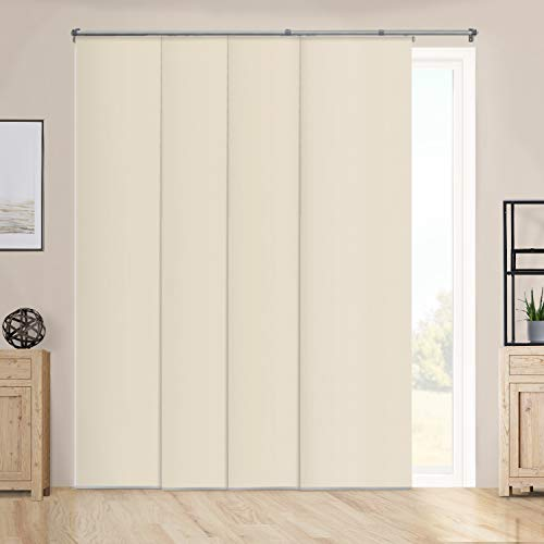 Chicology Adjustable Sliding Panels Cut to Length Vertical Blinds, Up to 80' W X 96' H, Performance Tan (Room Darkening)