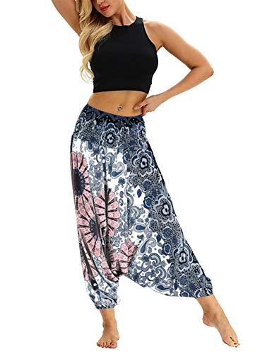 besbomig Mujeres Pantalon de Harén Casual Suelto Pierna Ancha Hippie Pantalones - Cintura Alta Bohemio Estilo Danza Yoga Pilates Pantalones