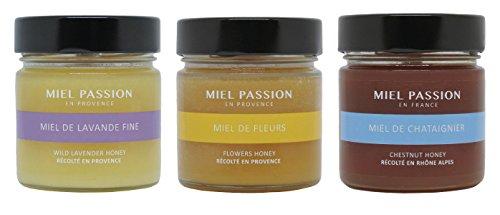 MIEL PASSION Miel de Lavanda Fina - Miel de Flores - Miel de Castaña - Cosechada en Francia - Lote de 3 jarras de 270g