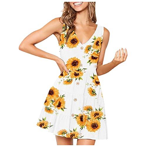 YANFANG Vestidos Cortos Mujer,2021 Vestido de Playa Floral Sexy Multicolor de Moda y Verano Informal para Mujer