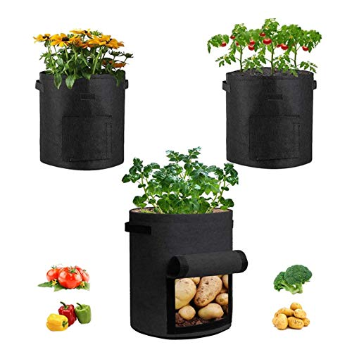 simpleSS 7ガロン不織布ポット 野菜 植え袋フェルト プランター (3枚入) 植木鉢 布 植物栽培H35cm×L30cm植物が元気に育つ フェルト プランター (黒い)