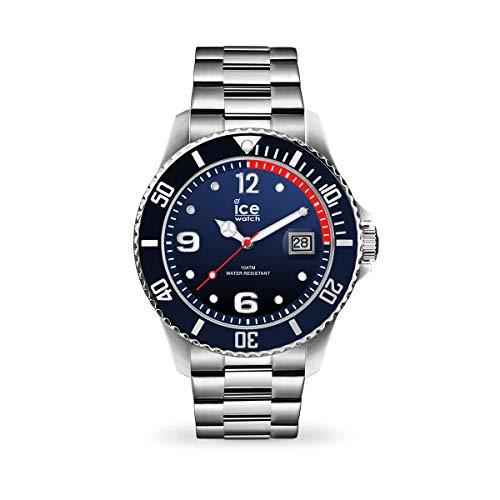 Ice-Watch - ICE steel Marine silver - Blaue Herrenuhr mit Metallarmband - 017324 (Extra large)