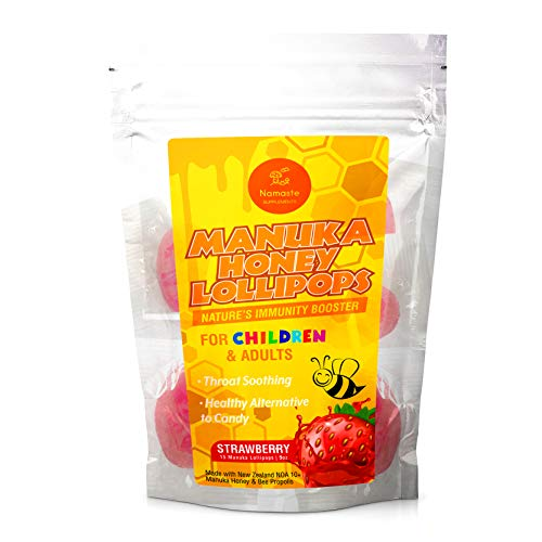 Manuka Honey Throat Soothing Immunity Lollipops for Children and Adult - Safe Alternative to Cough Drops and Lozenges - Strawberry